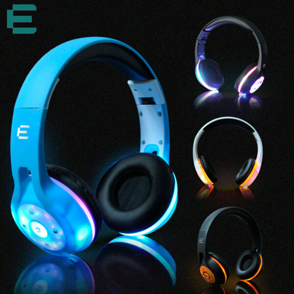 Wireless Bluetooth Headphone Sport Headset 3D Stereo Music LED Flashing Earphone