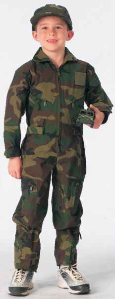 KID's Flight Suit Woodland Camo US Air Force Style Military Rothco 7208