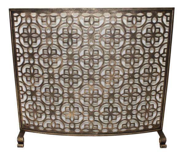 FIREPLACE SCREENS BRIGHTON PAVILION CURVED FIREPLACE SCREEN BURNISHED GOLD