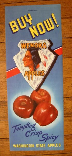 1940s Large Store Apple Crate Label Sign w Wenoka Indian Washington State