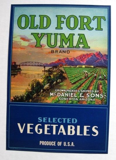 Vary Rare Old Fort Yuma Vegetable Crate Label