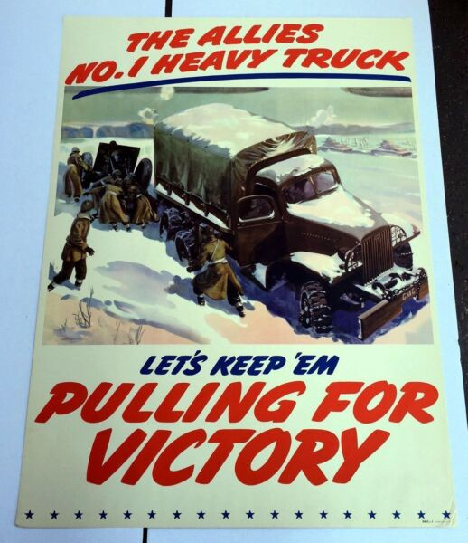 Rare Authentic WWII Poster by GMC The Allies #1 CCKW Jimmy Truck
