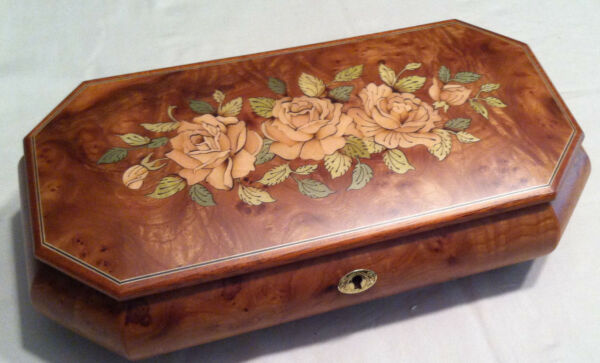 Reuge Large Musical Jewelry Box Made In Italy 30 Note-'Waltz Of The Flowers