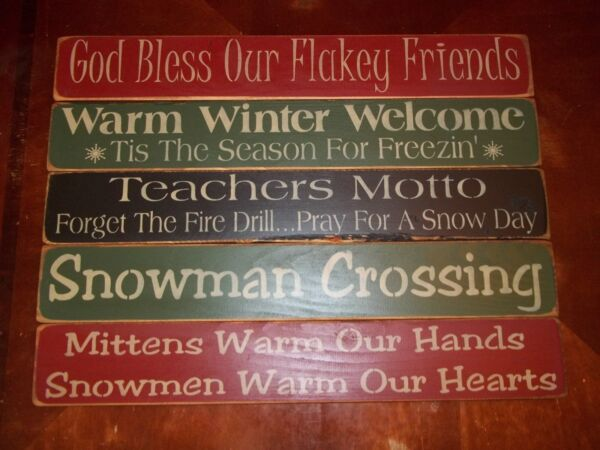 Wood Sign CHRISTMAS Home Decor Wood Block Sign Country Rustic Prim Holiday Decor