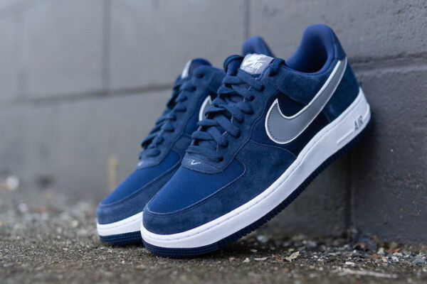 Mens Nike Air Force 1 One Low QS Sneakers New, Navy Blue / Gray Suede 488298-433