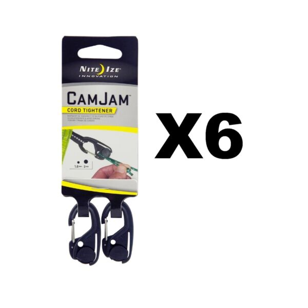Nite Ize CamJam Mini Cord Tightener Small Compact Durable (6-Pack of 2)