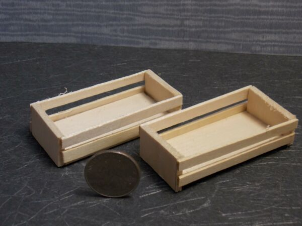 Dollhouse Miniature Wood Unfinished Crate Set C 1:12 Scale F22 Dollys Gallery