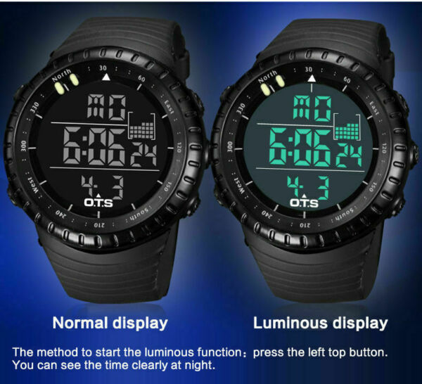 LED Men Sports Wrist Watch Digital Waterproof Stainless Steel Date Army Watches