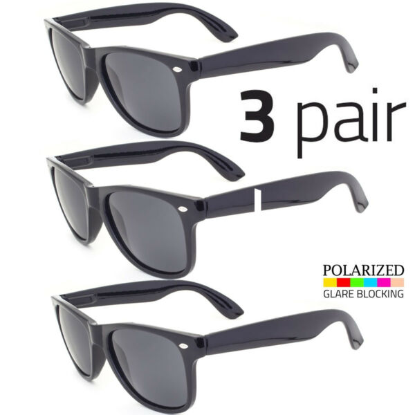 3 PAIR Polarized Vintage Sunglasses Retro Glasses Vintage Frame Fashion Black
