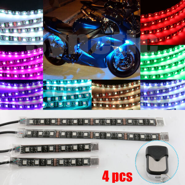 Syneticusa 4pc Motorcycle Light Strip Multi Color RGB Flexible Remote Kit 36 LED