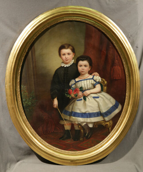 19th Century American Oil Painting of Two Children from Wealthy Family