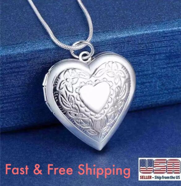 925 Sterling Silver Plt Heart Necklace, Locket Photo Picture Pendant 18