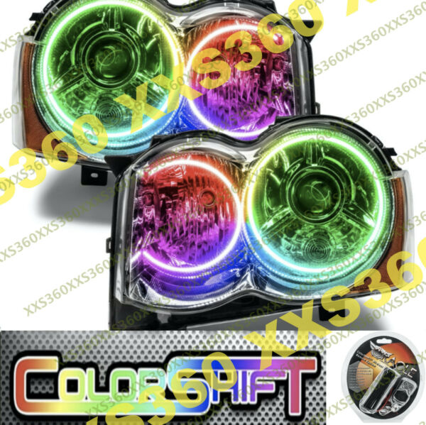 ORACLE Halo HEADLIGHTS HID Style for Jeep Grand Cherokee 08-10 COLORSHIFT WiFi