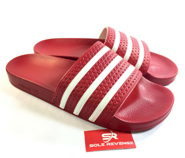 New Adidas ADILETTE Slides Sandals Mens Red White Beach Flip Flops 288193