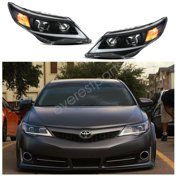 DRL Projector Front Lamp Headlights w LED For 2012 2014 Toyota Camry