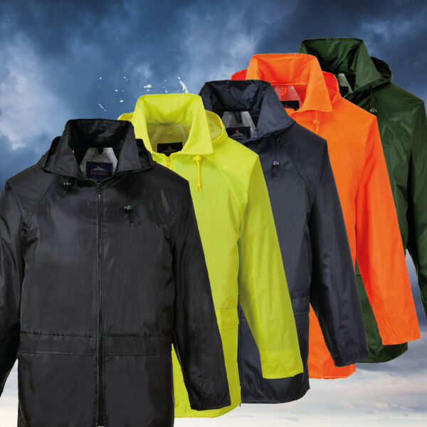 Portwest US440 Classic Waterproof  Rain Jacket wth Pack Away Hood