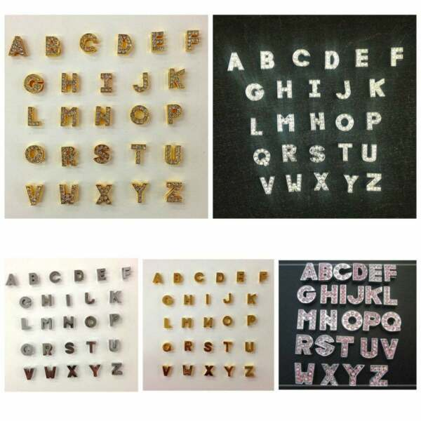 26pc Rhinestone Silver Pink Gold Pink quot;A Zquot; Slide Charm Alphabet slide charms $9.99