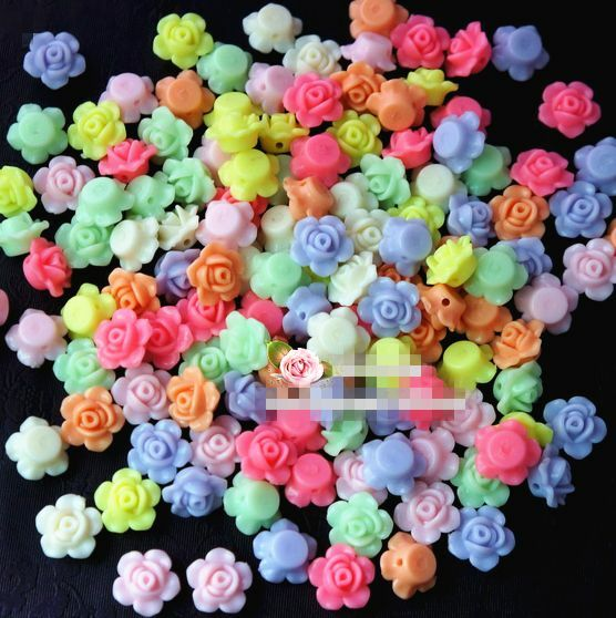 50Pcs 13mm Mixed Color Rose Flower Spacer Loose Beads DIY Craft Charms $1.23