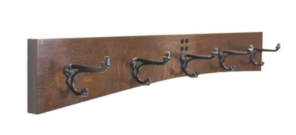 Arts and Crafts / Mission 30 Inch 5 Cast Iron Hook Coat Rack