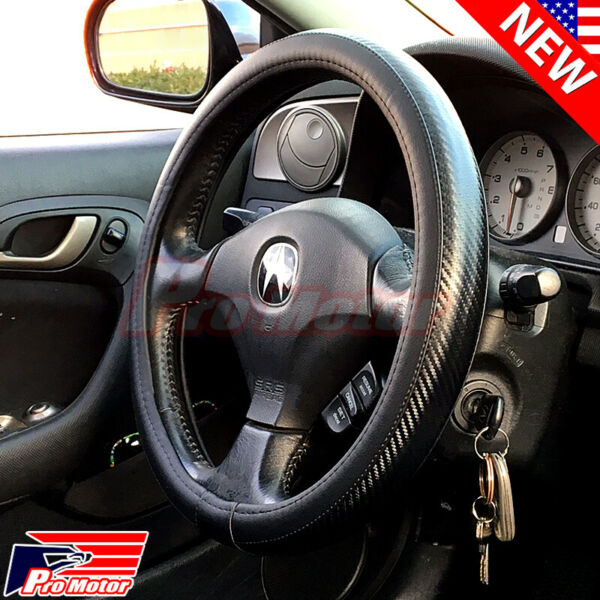2019 Premium Black Carbon Fiber Leather Steering Wheel Cover Protector Slip-On