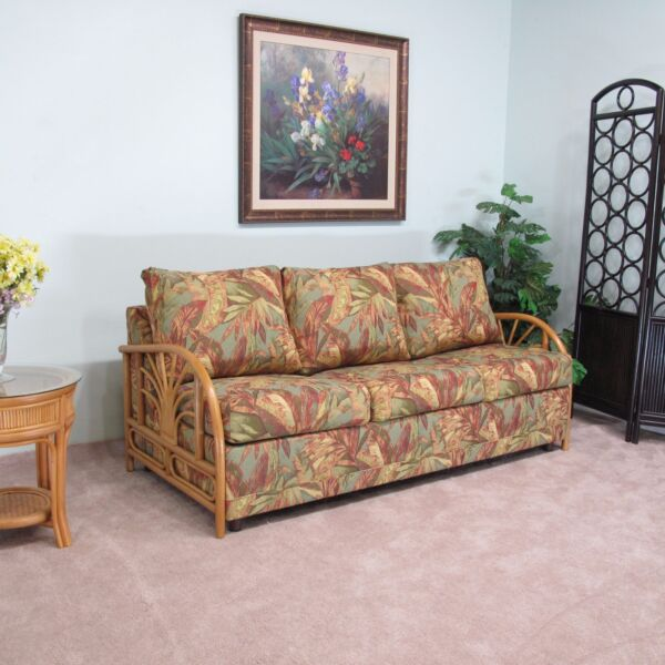 Made in USA Premium Contract Quality Rattan Queen Sofa Sleeper Bed