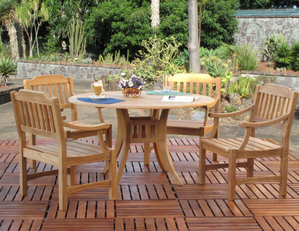 Premium Top Grade Teak Outdoor 5 Piece Dining Set (4-Chairs and Round Table)