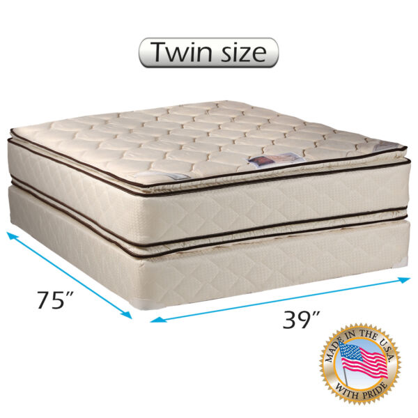 Dream Solutions USA Coil Comfort Pillow Top Mattress and Box Spring Set (Twin)