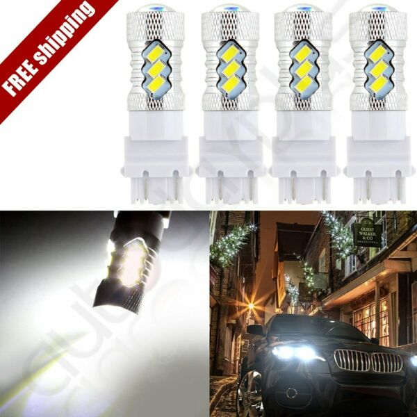 4x High Power  3157 Cree LED 15 5730 SMD 6000K Turn Signal 60W White Light