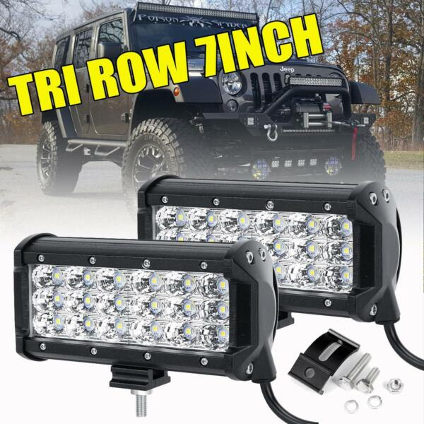 2X Tri-Row 7Inch 180W Cree Led Work Light Bar FLOOD Offroad Driving 4WD Truck 6