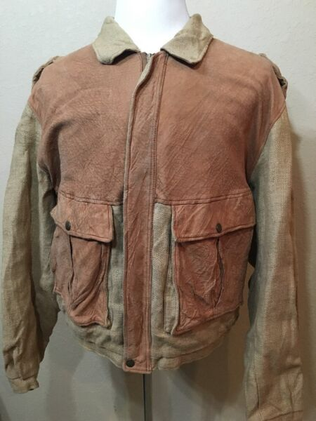 Vintage Friitala Finland Women's Size Large Unique Burlap And Leather