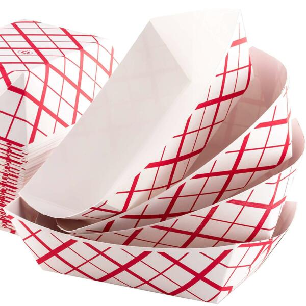 50pk Disposable Food Trays Checkered Paper Baskets 1lb Capacity Snack Server