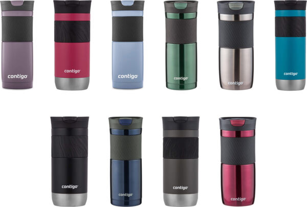 Contigo SnapSeal Byron Stainless Steel Travel Mug, 3 Sizes, 6 Colors