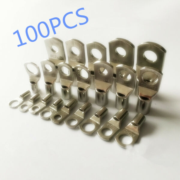 100PCS New Tinned Copper Cable Lugs Battery Marine AWG Cable Wire Terminals