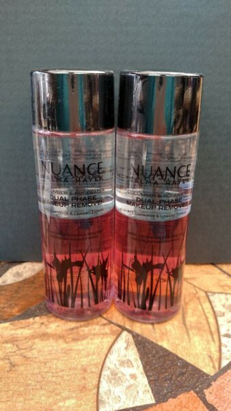 2 Nuance By Salma Hayek Cucumber & Rosewater Dual Phase Makeup Remover~4.3 oz Ea