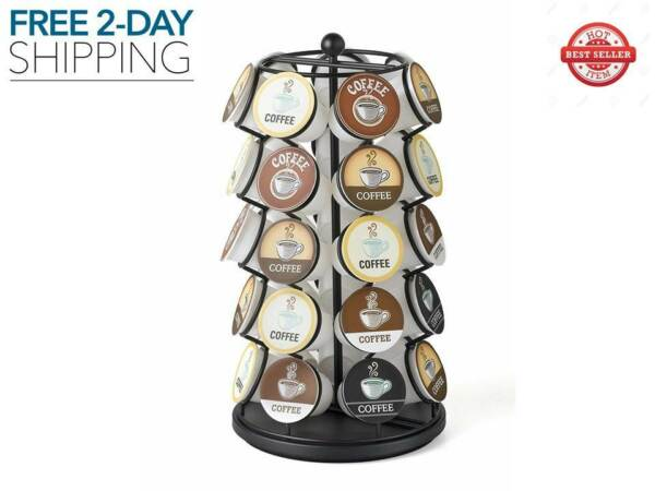New Keurig Chrome Rotating K Cups Holder 35 Coffee Pods Carousel Storage Rack