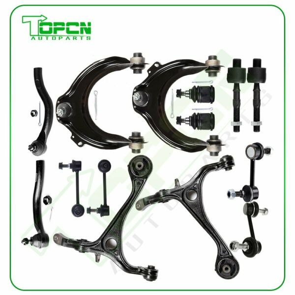 14pcs For 2003-2007 Honda Accord Lower Upper Control Arms Tie Rods Suspension