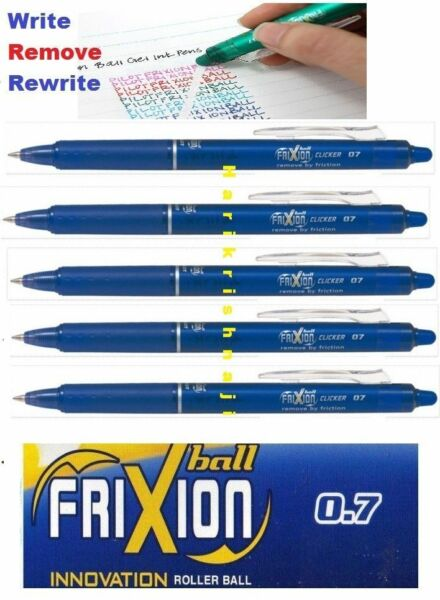 5 X Pilot Frixion Erasable Rollerball Blue Pen 0.7mm Point cheapest on