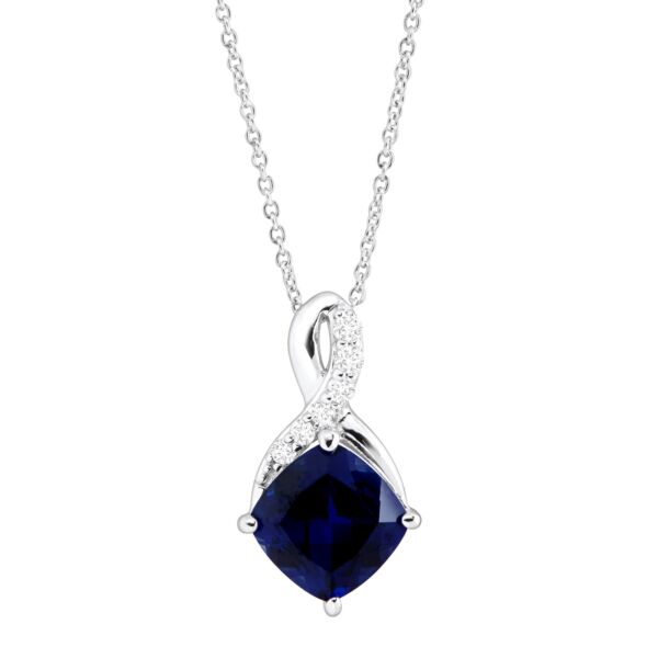 2 58 ct Created Sapphire & White Sapphire Pendant in Sterling Silver