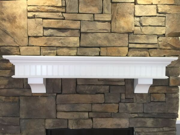 Mantel Fireplace Painted Floating White Bead Board Crown Mold Corbels Supports