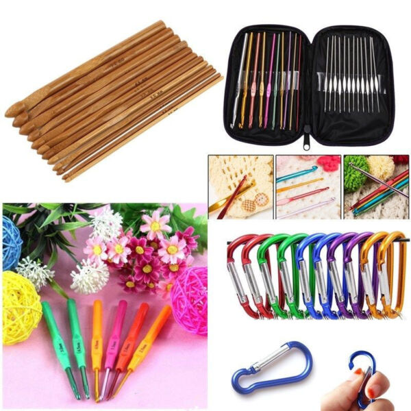 Multi Aluminum Plastic Bamboo Crochet Hooks Knitting Needles DIY Weave Yarn Set $0.99