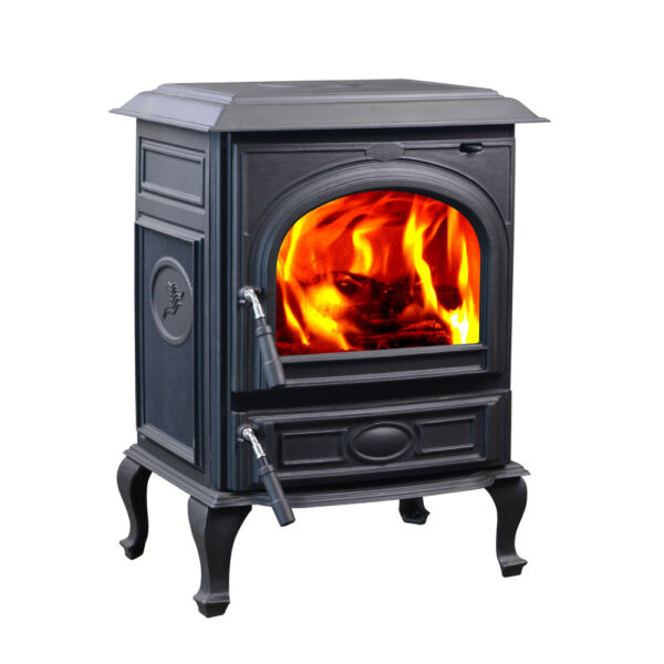 HiFlame 18KW Cast Iron Wood Burner Heating Stove HF717UA Paint Black—New in box