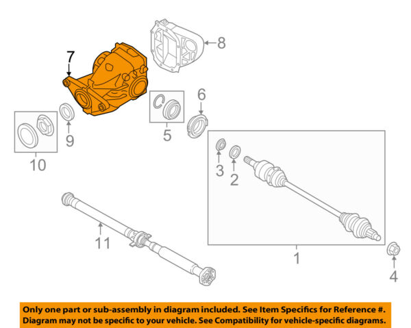 BMW OEM 11-16 X6 Rear-Axle Assembly or CV Shaft 33107595261