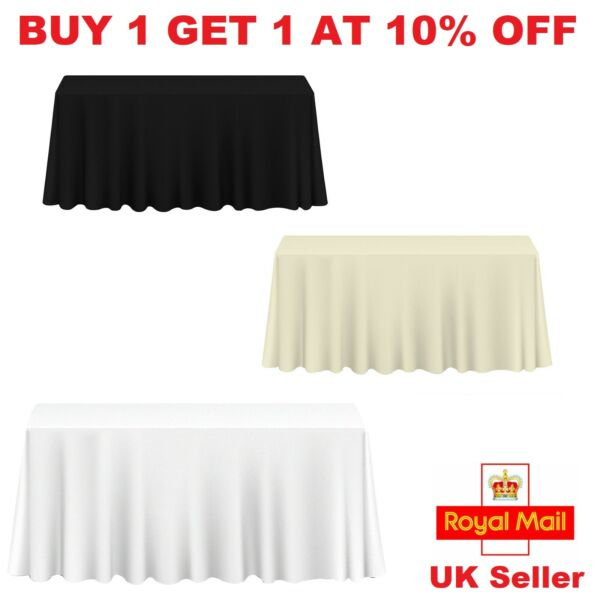 White Black Ivory Polyester Tablecloth Table Cover Cloth Linen Rectangle Wedding