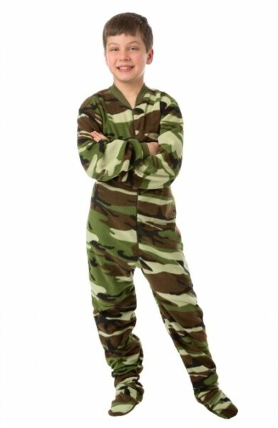 Camo Fleece Youth Footed Pajamas Footie Kids Green Brown Camouflage PJs Boys