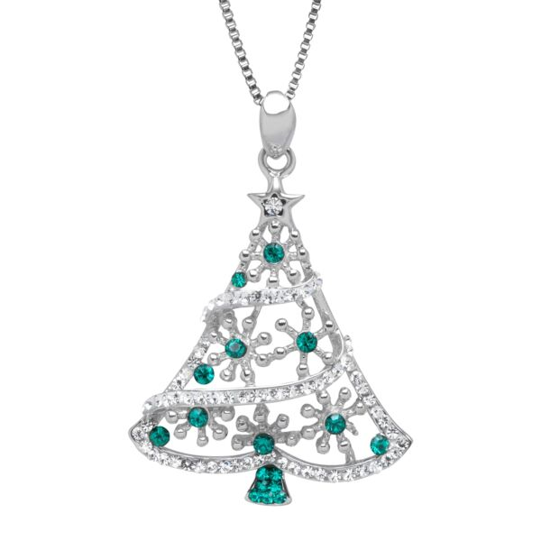 Christmas Tree Pendant with Forest amp; White Swarovski Crystals in Sterling Silver
