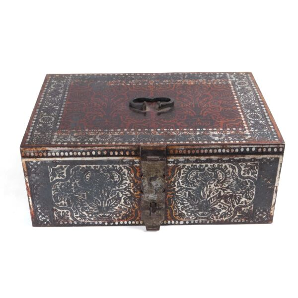 Russian strongbox antique vintage toleware metal stencil painted secret lock box