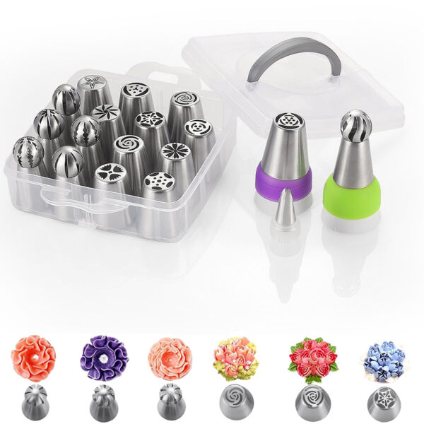 24PCS Cake Baking Supplies Russian Piping Tips Icing Nozzles for Cake Decoration