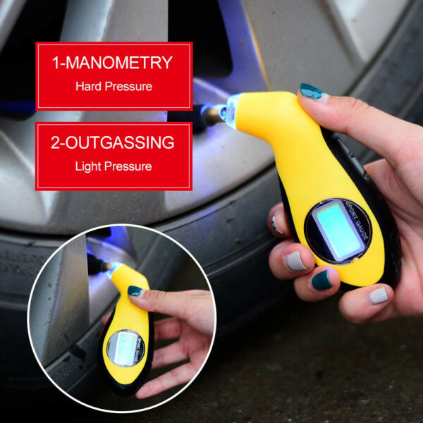 LCD Digital Car Motorcycle Tire Tyre Air Pressure Gauge Tester Tool For Auto Car