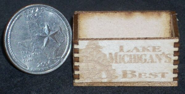 Dollhouse Miniature Lake Michigan 's Best  Produce Crate 1:12 Food Market Store