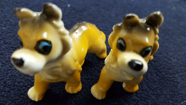 Vintage Ceramic Dogs 2 Collectible Border Collie Figurines Made In Japan $19.95